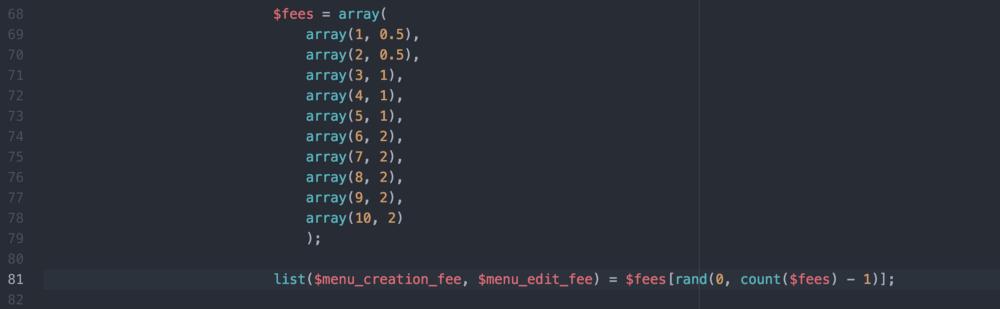 Random price array code