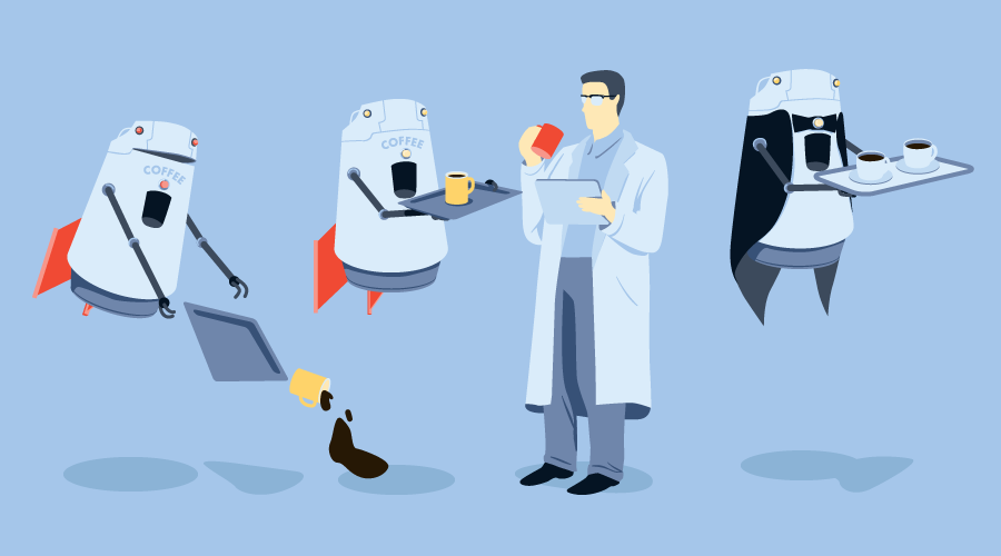 Test-driven development: a series of prototype robot coffee baristas