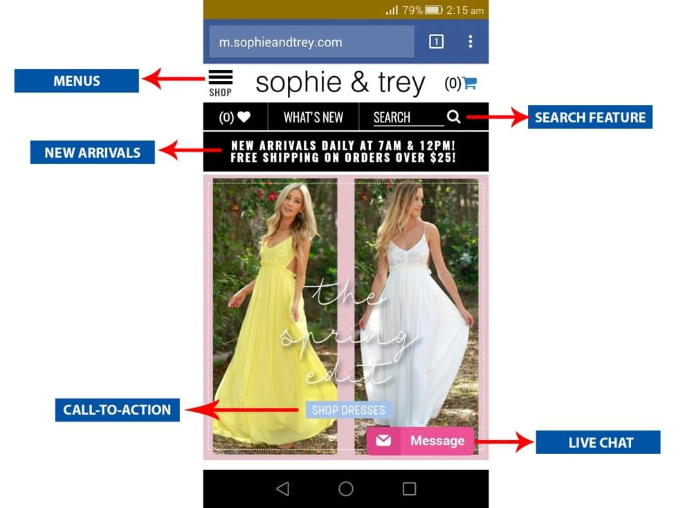 Sophie and Trey mobile site example