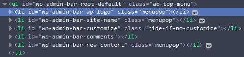 WordPress toolbar item IDs