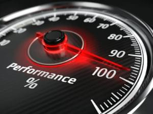 Performance meter with arrow on 100%. Performance benchmark.
