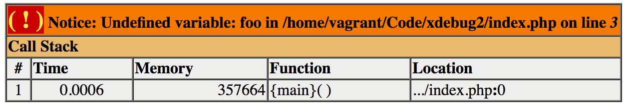 Xdebug styled error
