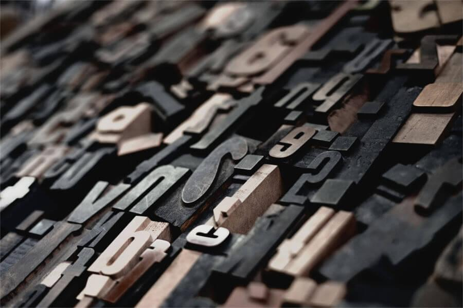 The metal letters of a font