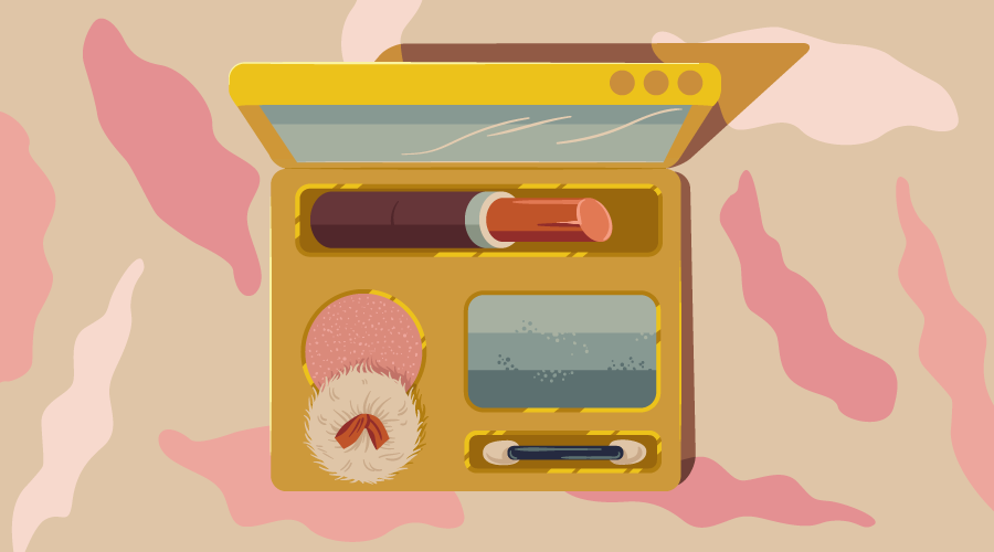 A cosmetics kit with various 'styled-components'