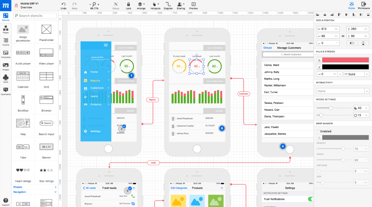 Moqups used for developing mobile app mockups