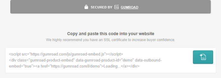 Code snippet generated by Gumroad to integrate with Jekyll