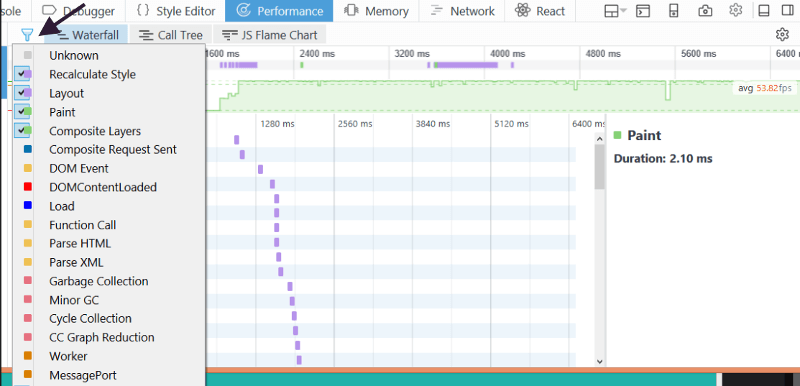 Filter feature inside Firefox Performance Dev Tools.
