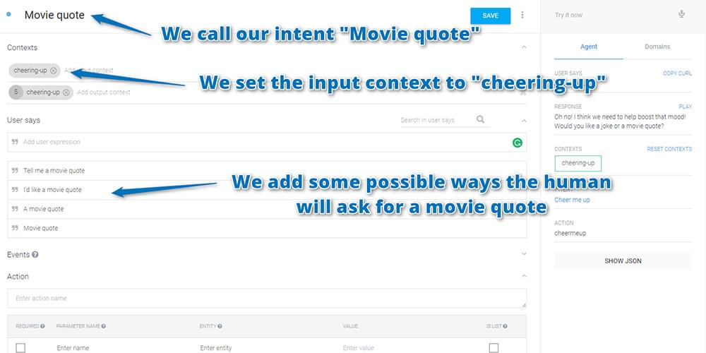 Your custom movie quote intent