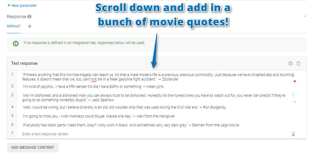 Adding your movie quotes