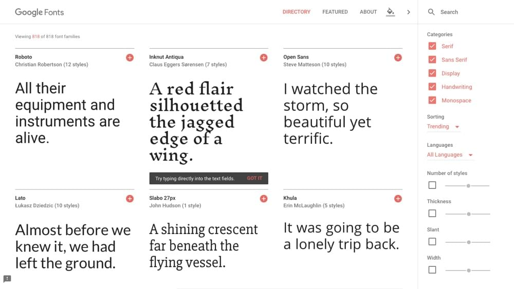 Google Fonts screenshot