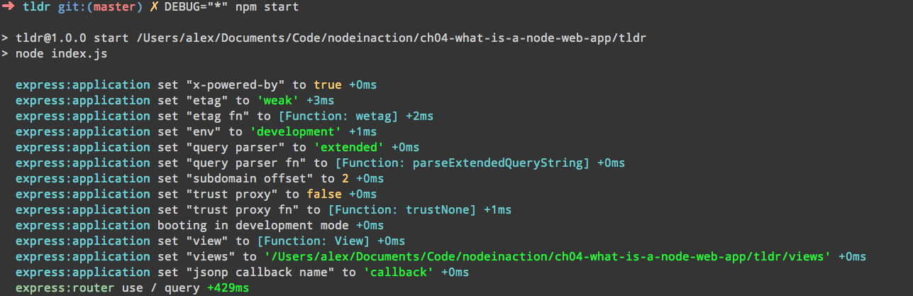 Testing Node - Running an Express application with DEBUG='*'