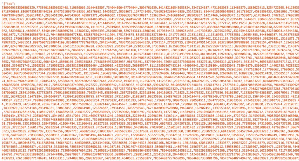 Screenshot of 5000 Twitter user IDs