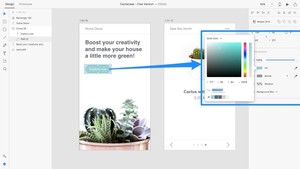 High-fidelity prototyping with Adobe XD