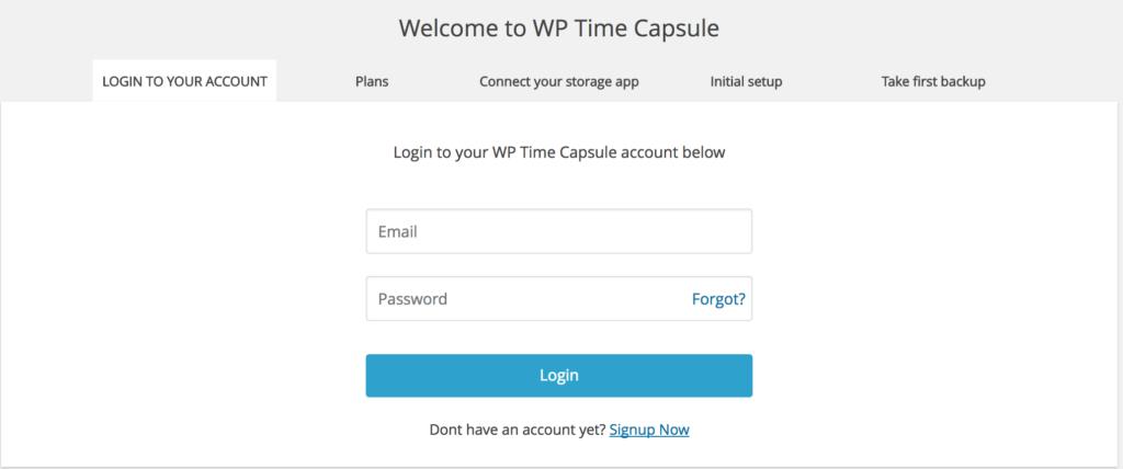 WP Time Capsule Login