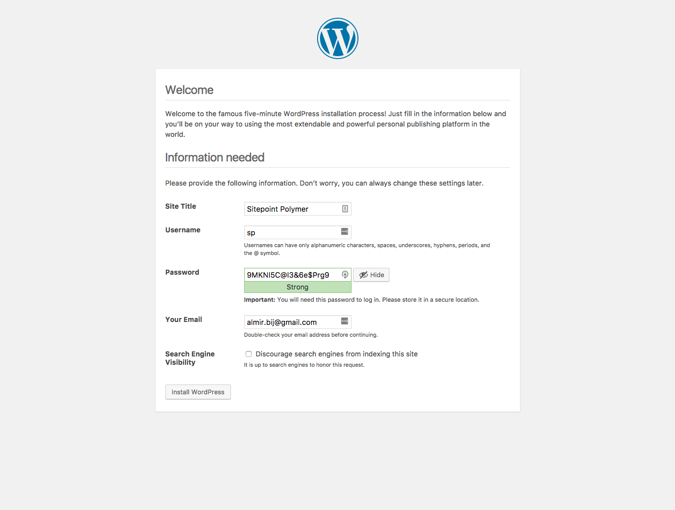 Using Polymer in WordPress: WordPress installation