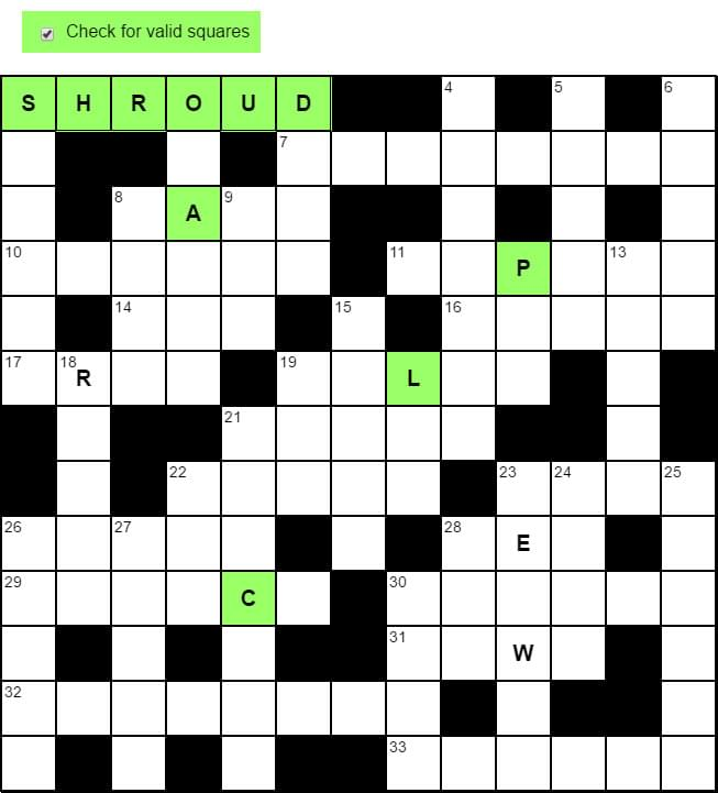 Crossword valid squares highlighted