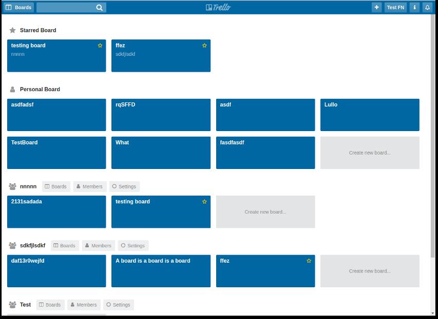 Screenshot of fullstack Trello clone