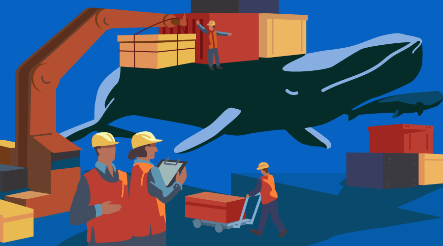 A team of workers with a crane loading containers onto the back of a whale. Kubernetes and Docker.