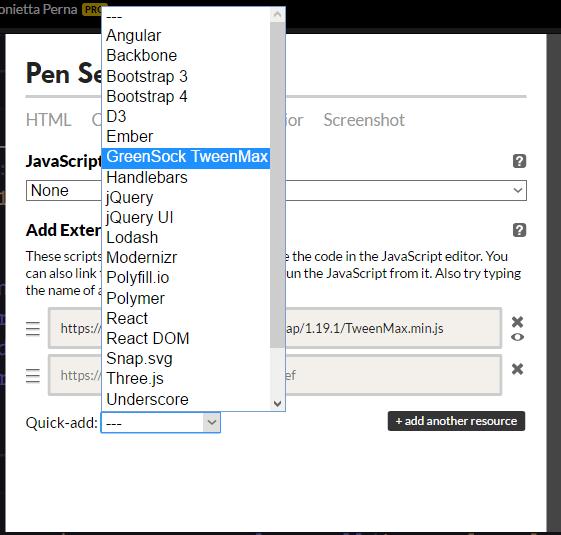 CodePen JavaScript Settings box to upload GreenSock TweenMax