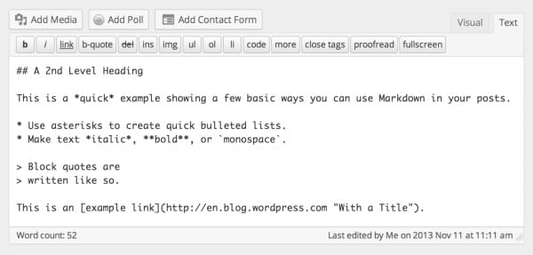 Jetpack - Markdown in WordPress