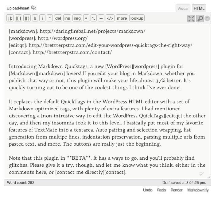 Markdown QuickTags - Markdown in WordPress