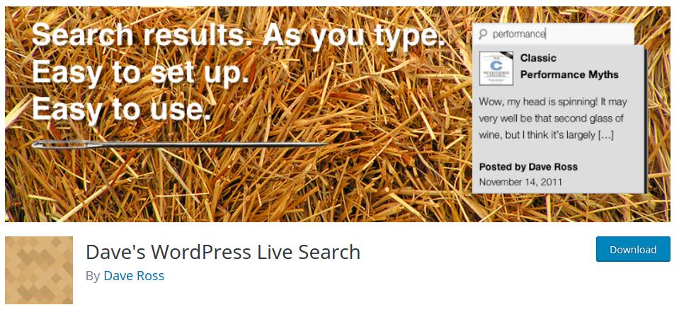 Dave WordPress Live Search