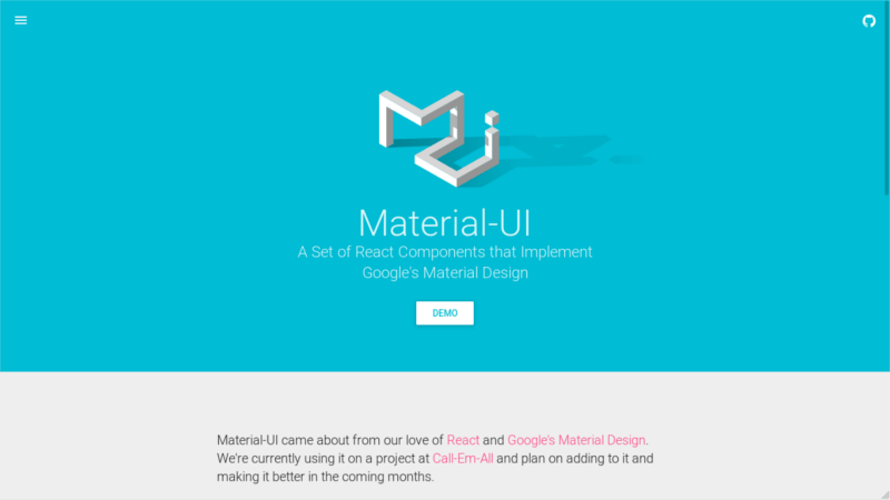 Material UI Material Design UI for React Components