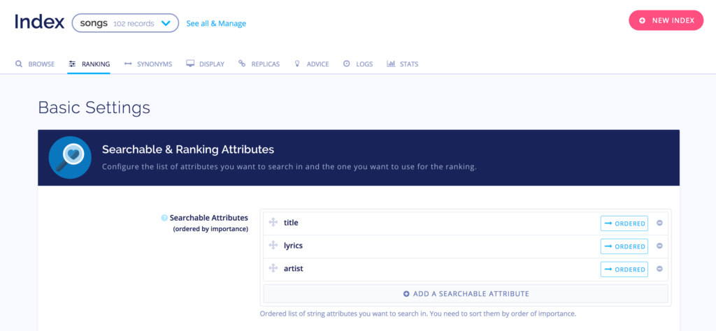 Algolia Searchable Attributes