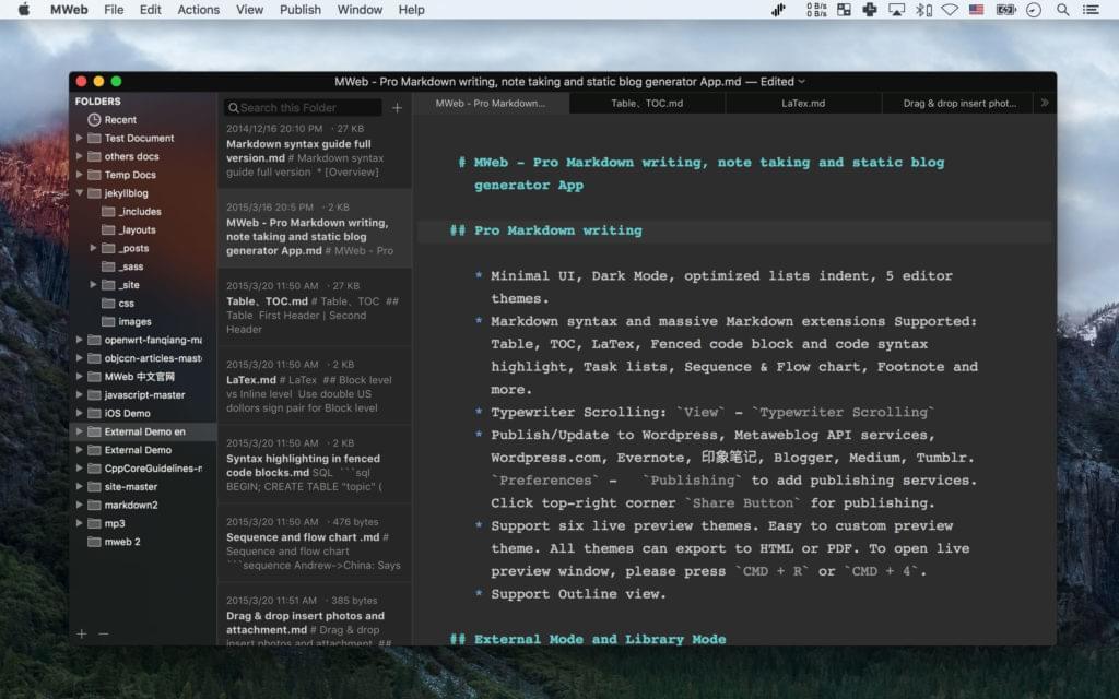 A screen shot of the MWeb editor
