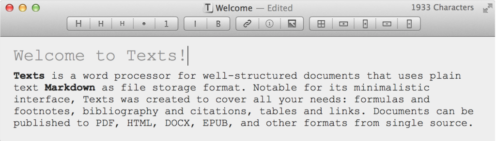 A screen shot of the Texts editor