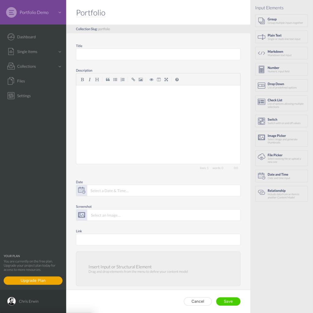 Elemeno interface: Portfolio collection screen shot