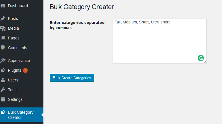 Bulk Create Categories