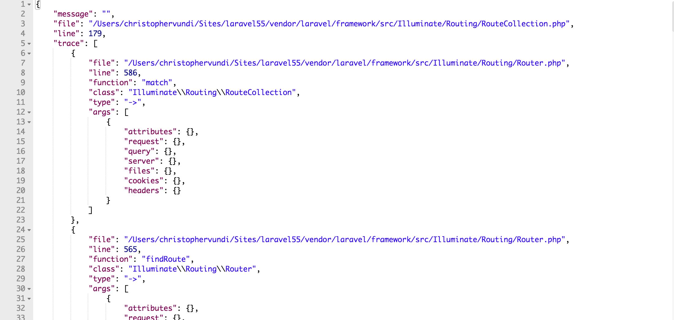 JSON stack trace