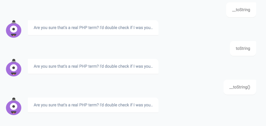 PHPBot's response to __toString