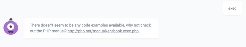 PHPBot's response to exec