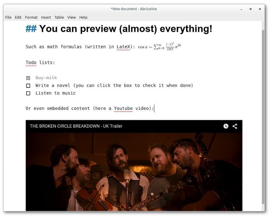 Abricotine Markdown editor screenshot