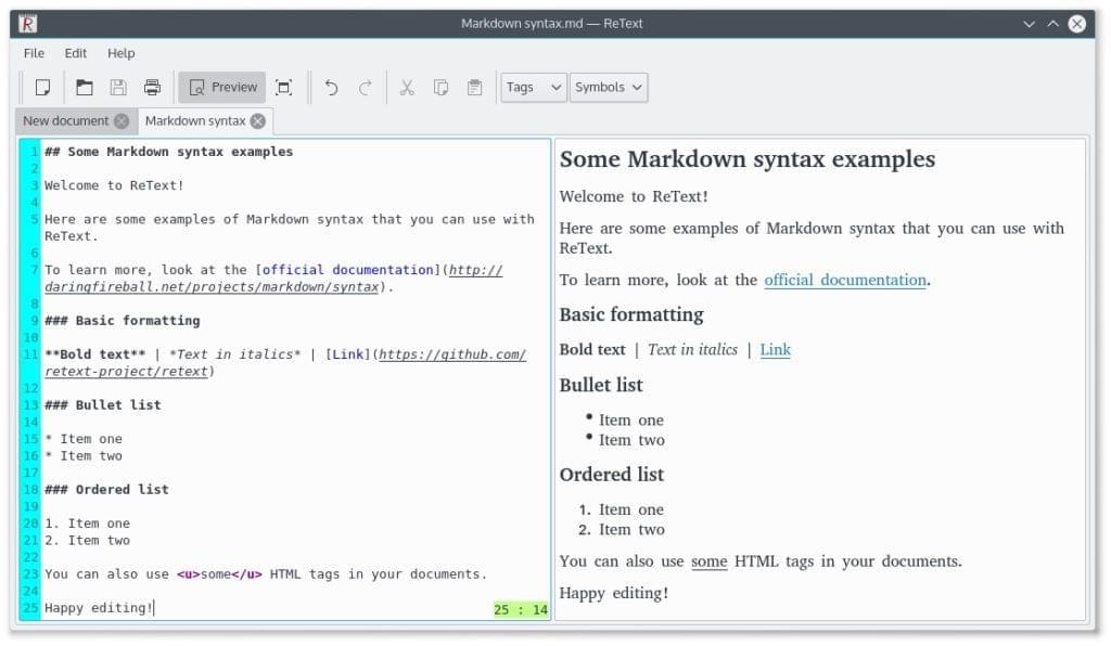 Retext Markdown editor screenshot