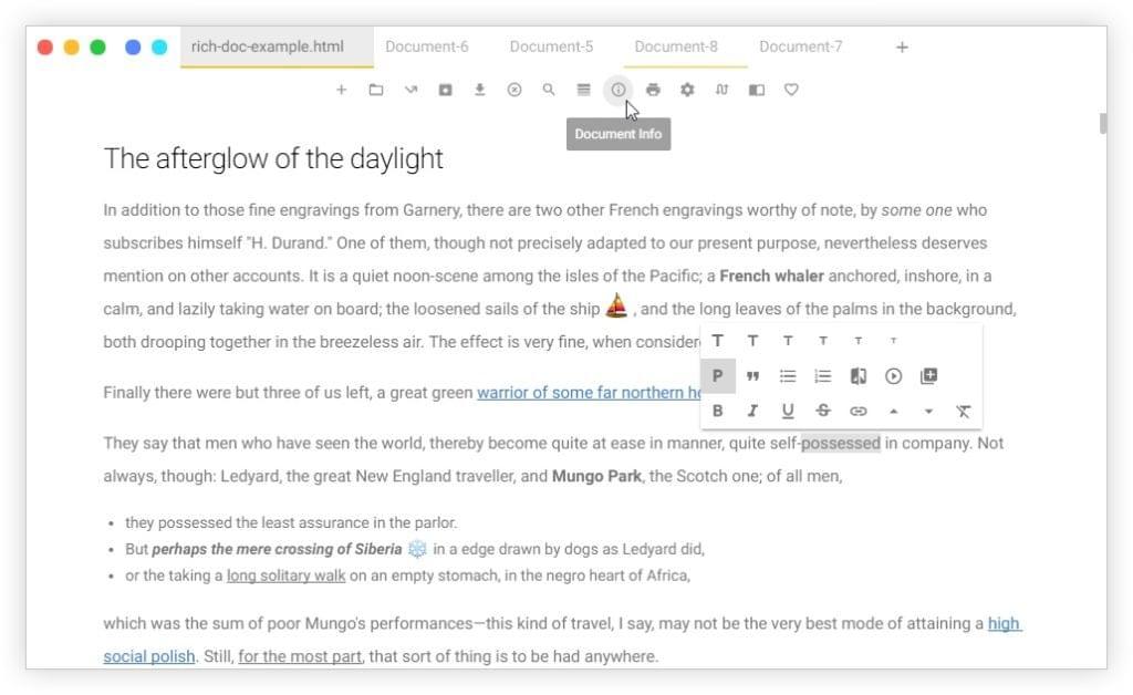 Uncolored Markdown editor screenshot