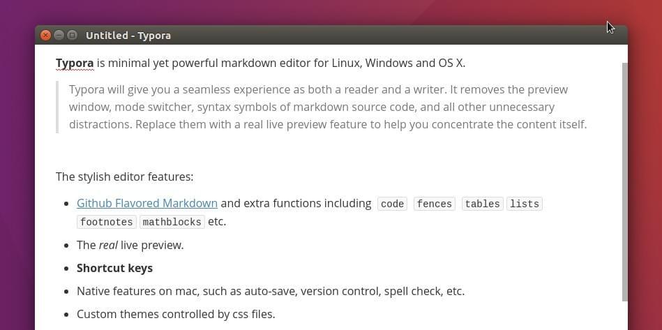 Typora Markdown editor screenshot