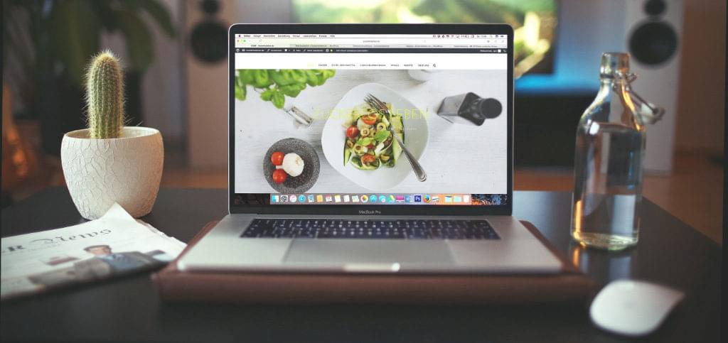 A WordPress site on a laptop screen