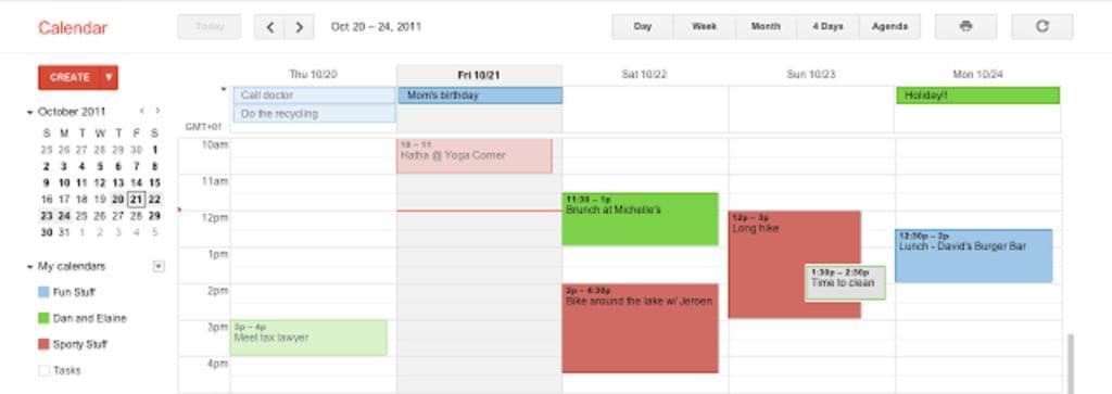 Google Calendar screen shot