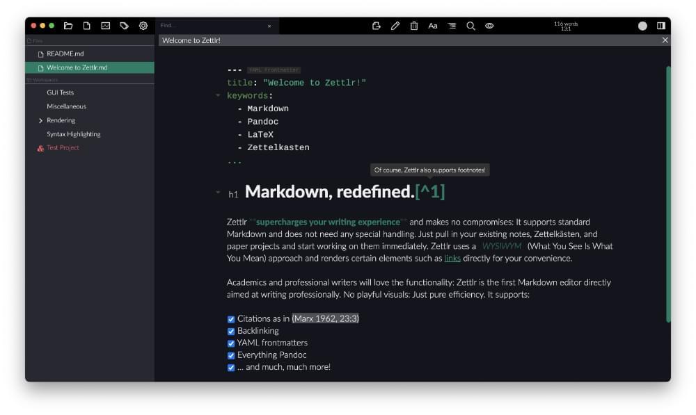 Zettlr Markdown editor screenshot