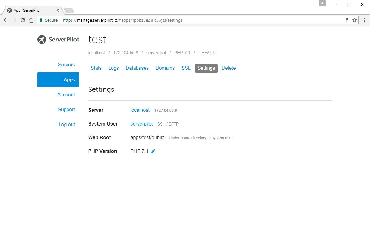 Application settings in ServerPilot.io