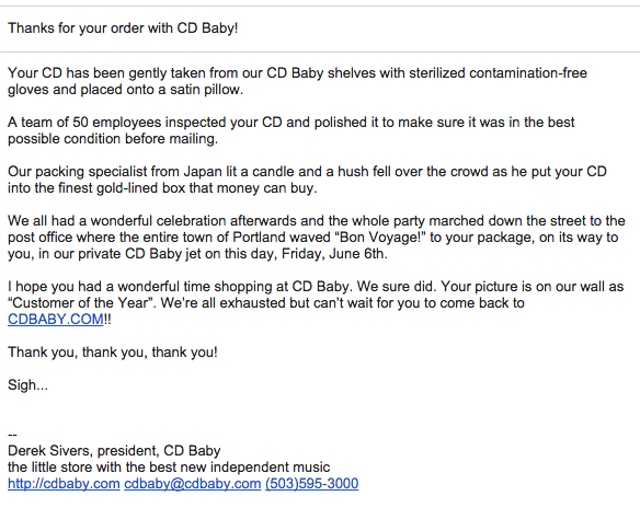 CD Baby email