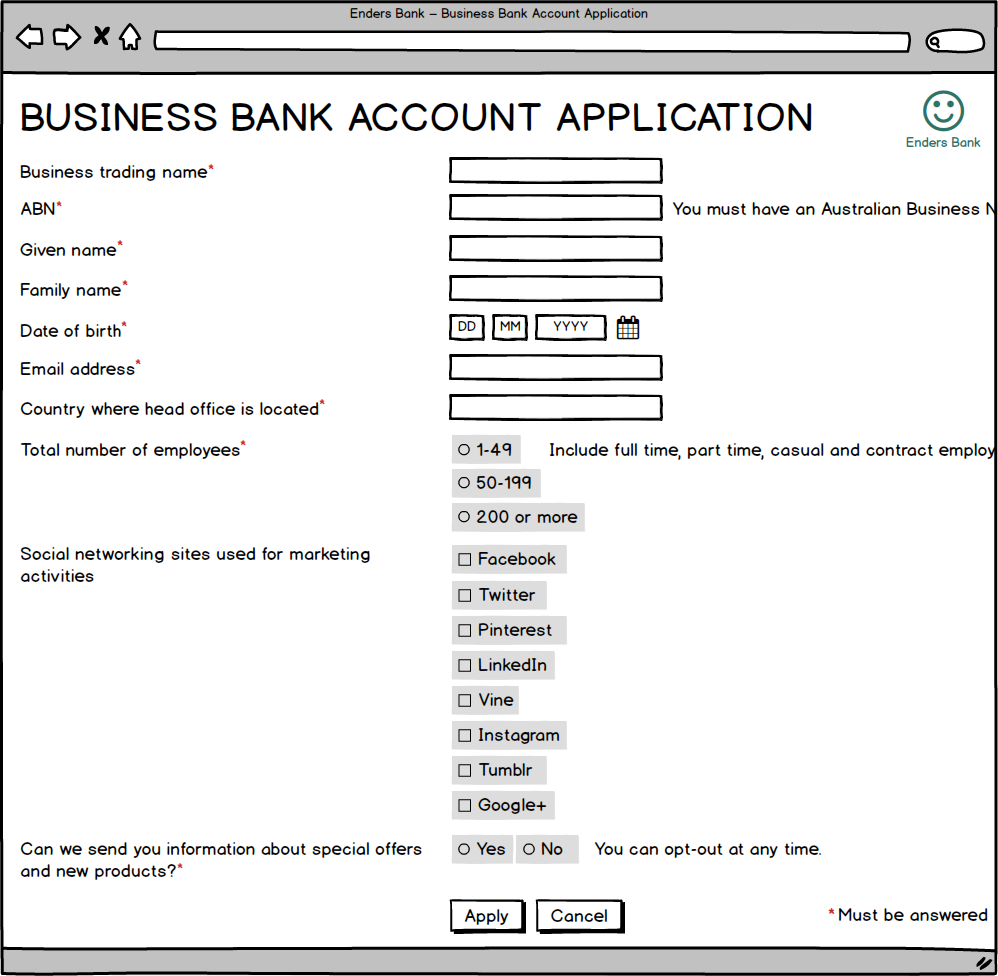 On larger screens, labels are positioned to the left of fields so the form doesn't look unnecessarily long.