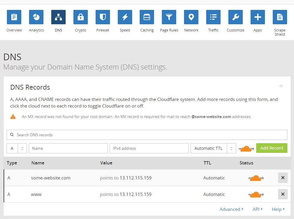 Cloudflare DNS dashboard