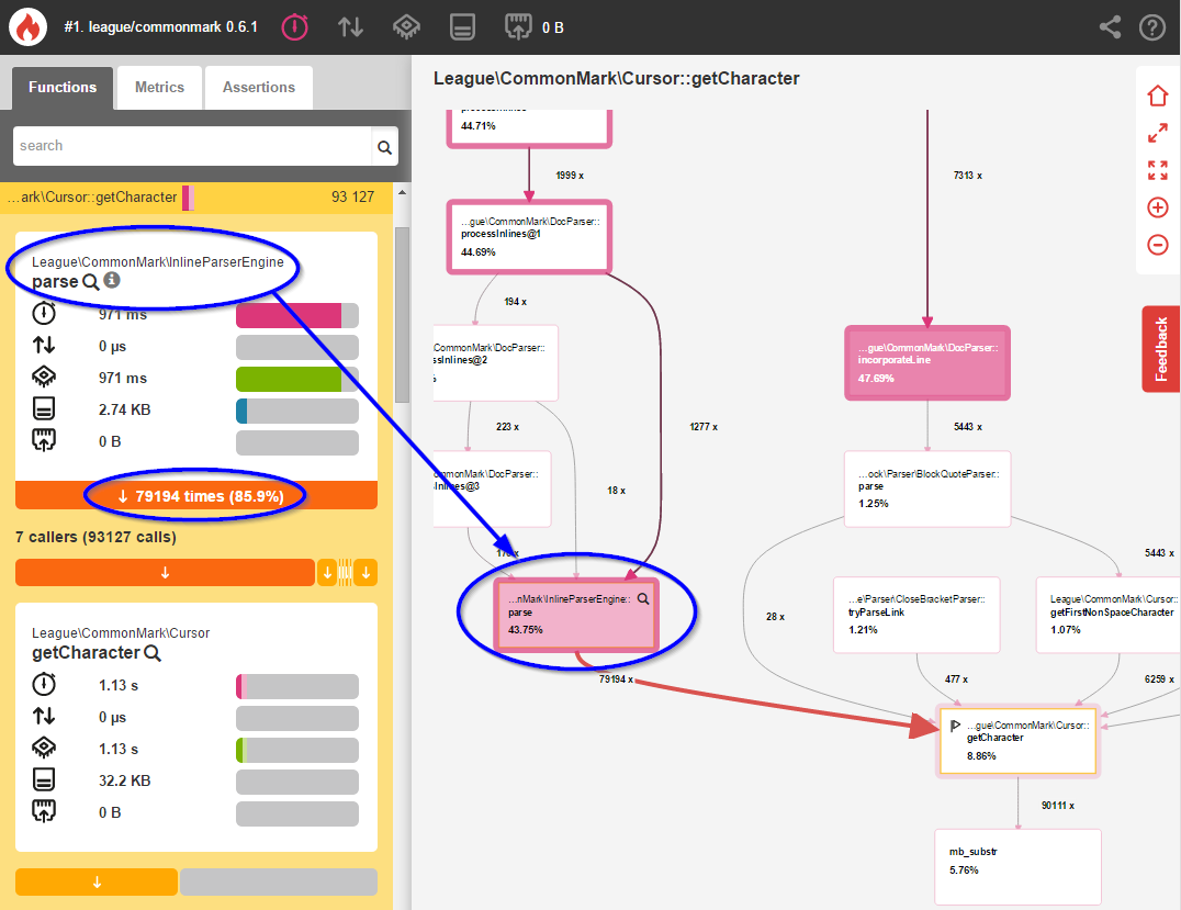 Detailed view of InlineParseEngine::parse()