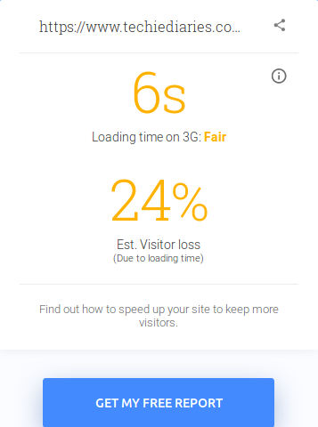 Google's Test My Site: Loading time
