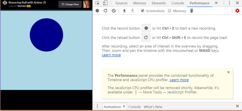 Performance tab in Chrome dev tools