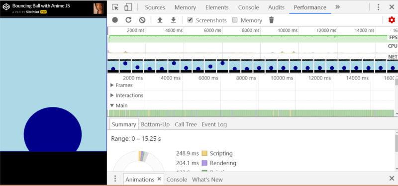 Data from the Performance dev tools in Chrome